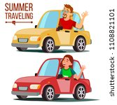 summer traveling by car. male ... | Shutterstock . vector #1108821101