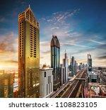 dubai sunset panoramic view of... | Shutterstock . vector #1108823105
