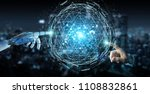 white robot hand on blurred... | Shutterstock . vector #1108832861