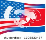usa north korean peace holding... | Shutterstock . vector #1108833497