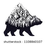 bear and night forest mountain... | Shutterstock .eps vector #1108860107