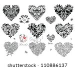 black decorative hearts