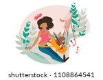 girl painter paints tassel on...   Shutterstock .eps vector #1108864541
