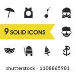 summer icons set with...