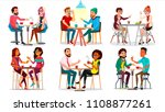 friends in cafe. man  woman ... | Shutterstock . vector #1108877261