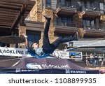 Small photo of Vail, Colorado / USA - 06-08-18 GoPro Mountain Games Slackline Invitational back bounce