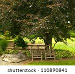 two wicker like chairs in the...   Shutterstock . vector #110890841