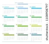 calendar 2019 year grid design... | Shutterstock . vector #1108908797