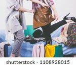 two happy joyful women having... | Shutterstock . vector #1108928015