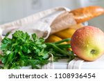 fresh ripe apple  bananas and... | Shutterstock . vector #1108936454