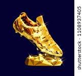golden soccer shoe boot cleat...   Shutterstock .eps vector #1108937405