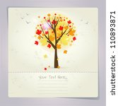 beautiful autumn tree card or... | Shutterstock .eps vector #110893871