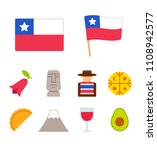 chile icons set in flat cartoon ... | Shutterstock . vector #1108942577