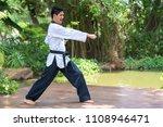 fighting with taekwondo. | Shutterstock . vector #1108946471