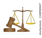 law scale balance and hammer on ... | Shutterstock .eps vector #1108980047