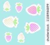 strawberry  halftone pattern ... | Shutterstock . vector #1108986899