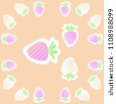 strawberry  halftone pattern ... | Shutterstock . vector #1108988099