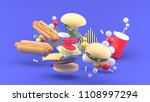 hamburgers  hot dogs and soft... | Shutterstock . vector #1108997294