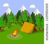 natural landscape green hills... | Shutterstock . vector #1109002424