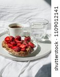 breakfast in bed with morning... | Shutterstock . vector #1109012141