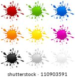 set of different color inkblots ... | Shutterstock .eps vector #110903591