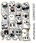 vector illustration of monsters ... | Shutterstock .eps vector #1109047337