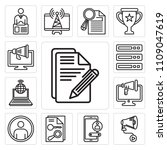 set of 13 simple editable icons ... | Shutterstock .eps vector #1109047619