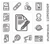 set of 13 simple editable icons ... | Shutterstock .eps vector #1109050409