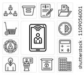 set of 13 simple editable icons ... | Shutterstock .eps vector #1109056001