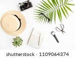 top view home office desk.... | Shutterstock . vector #1109064374