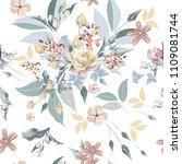 floral pattern with beautiful... | Shutterstock .eps vector #1109081744