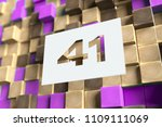 number 41 on the wood pattern... | Shutterstock . vector #1109111069