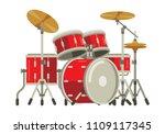 drum set flat style vector... | Shutterstock .eps vector #1109117345