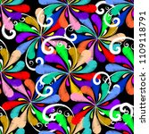 floral colorful embroidery... | Shutterstock .eps vector #1109118791