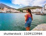 tourist woman in cadaques ... | Shutterstock . vector #1109123984