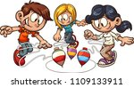 cartoon kids playing spinning... | Shutterstock .eps vector #1109133911