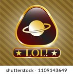 gold badge or emblem with... | Shutterstock .eps vector #1109143649