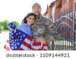 american soldier with his wife... | Shutterstock . vector #1109144921