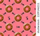 seamless pattern art. donut... | Shutterstock .eps vector #1109146211