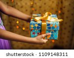 a young girl extending a hand... | Shutterstock . vector #1109148311