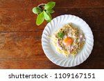 spaghetti carbonara with egg... | Shutterstock . vector #1109167151