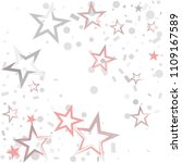 christmas silver and pink stars ... | Shutterstock .eps vector #1109167589