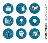Set of 9 business and money icons - vector blue flatstyle - stock vector