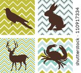 Stock vector a set of seamless retro patterns and silhouettes of animals could be used as wall art 110917334