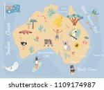 map of australia with landmarks ... | Shutterstock .eps vector #1109174987