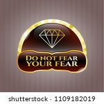gold emblem or badge with... | Shutterstock .eps vector #1109182019