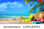 straw hat and sunglasses on... | Shutterstock . vector #1109183591