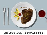 grilled beef  t bone steak and... | Shutterstock .eps vector #1109186861