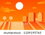 beautiful city park horizontal... | Shutterstock .eps vector #1109195765