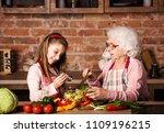 little grandchild girl helps... | Shutterstock . vector #1109196215